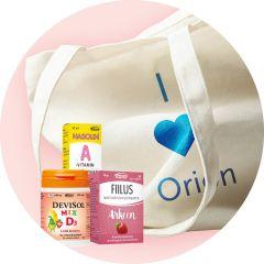 Orion keräily: Orionin tuotepaketti ja puuvillakassi